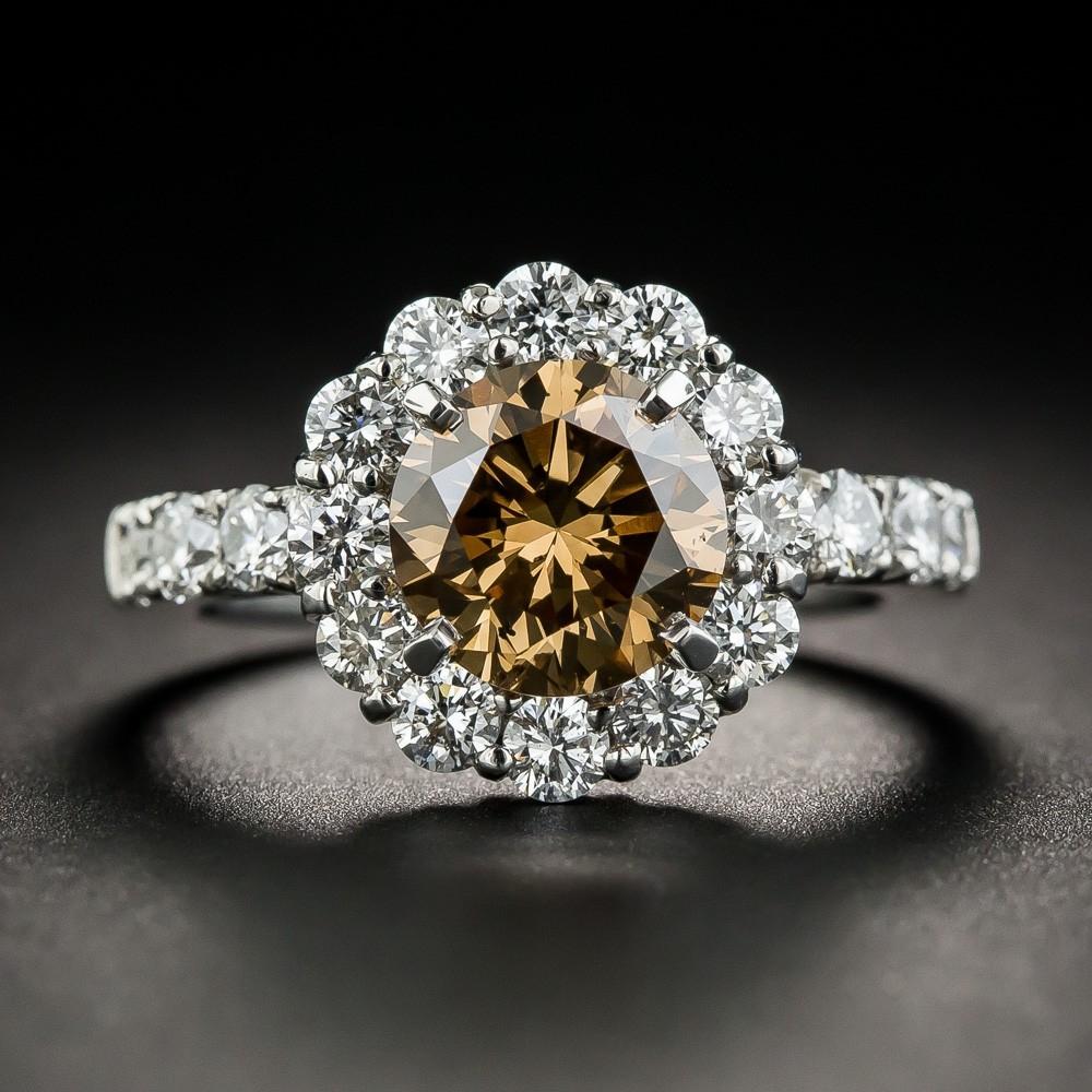Natural Fancy Dark Yellowish Brown Diamond Ring