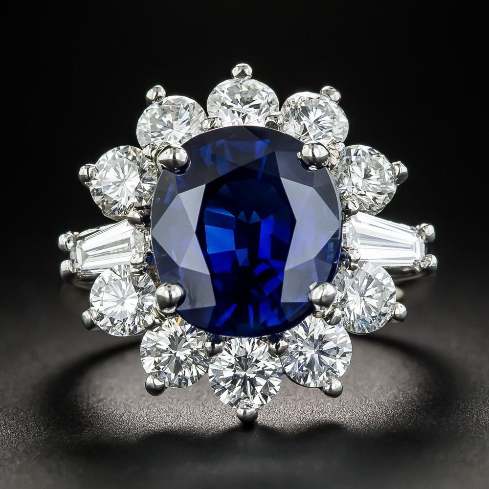 5.97 Carat Gem Australian Sapphire, Diamond, and Platinum Ring