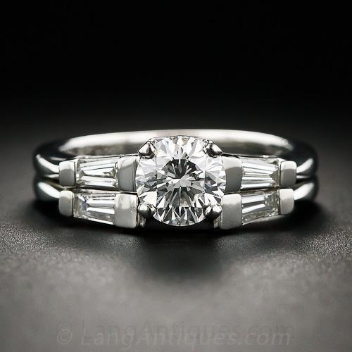 .91 Carat Platinum and Diamond Wedding Set
