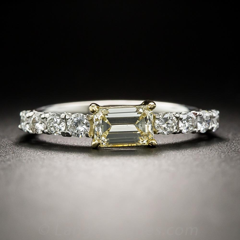 Natural Fancy Light Yellow Emerald-Cut Diamond, Platinum, and 18K Gold Ring