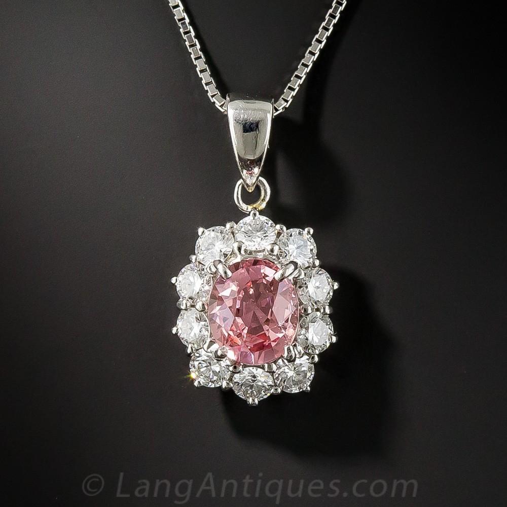 Natural No-Heat Padparadscha Sapphire and Diamond Drop