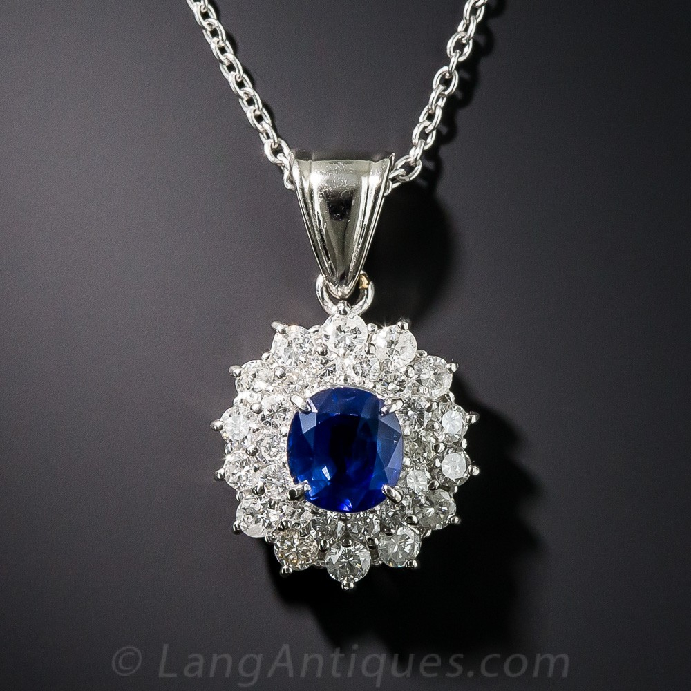 1.47 Carat Sapphire and Diamond Pendant Necklace