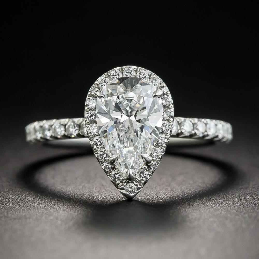 Tiffany & Co. 1.34 Carat Pear Shape Diamond Halo Ring