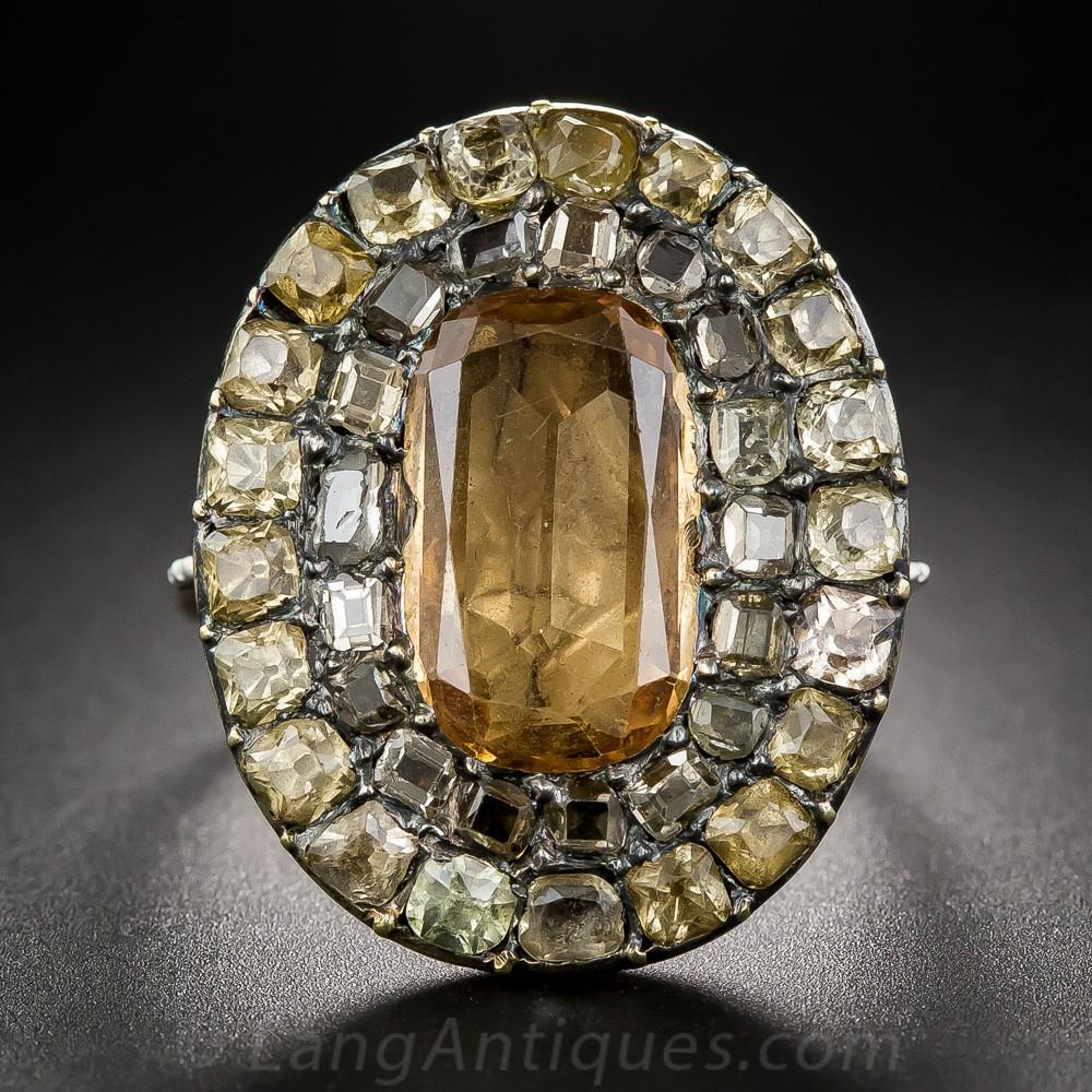Georgian Topaz and Diamond Ring