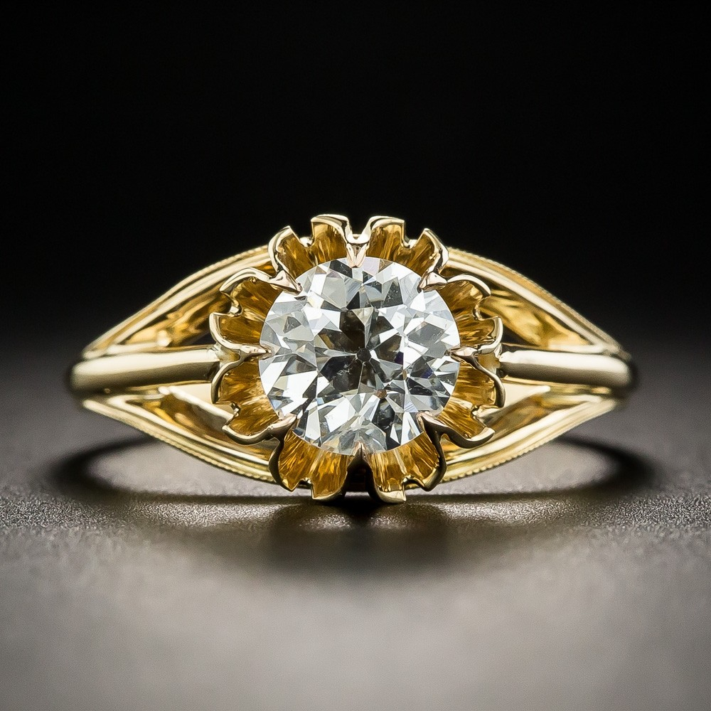1.09 Carat European-Cut Diamond Solitaire Engagement Ring