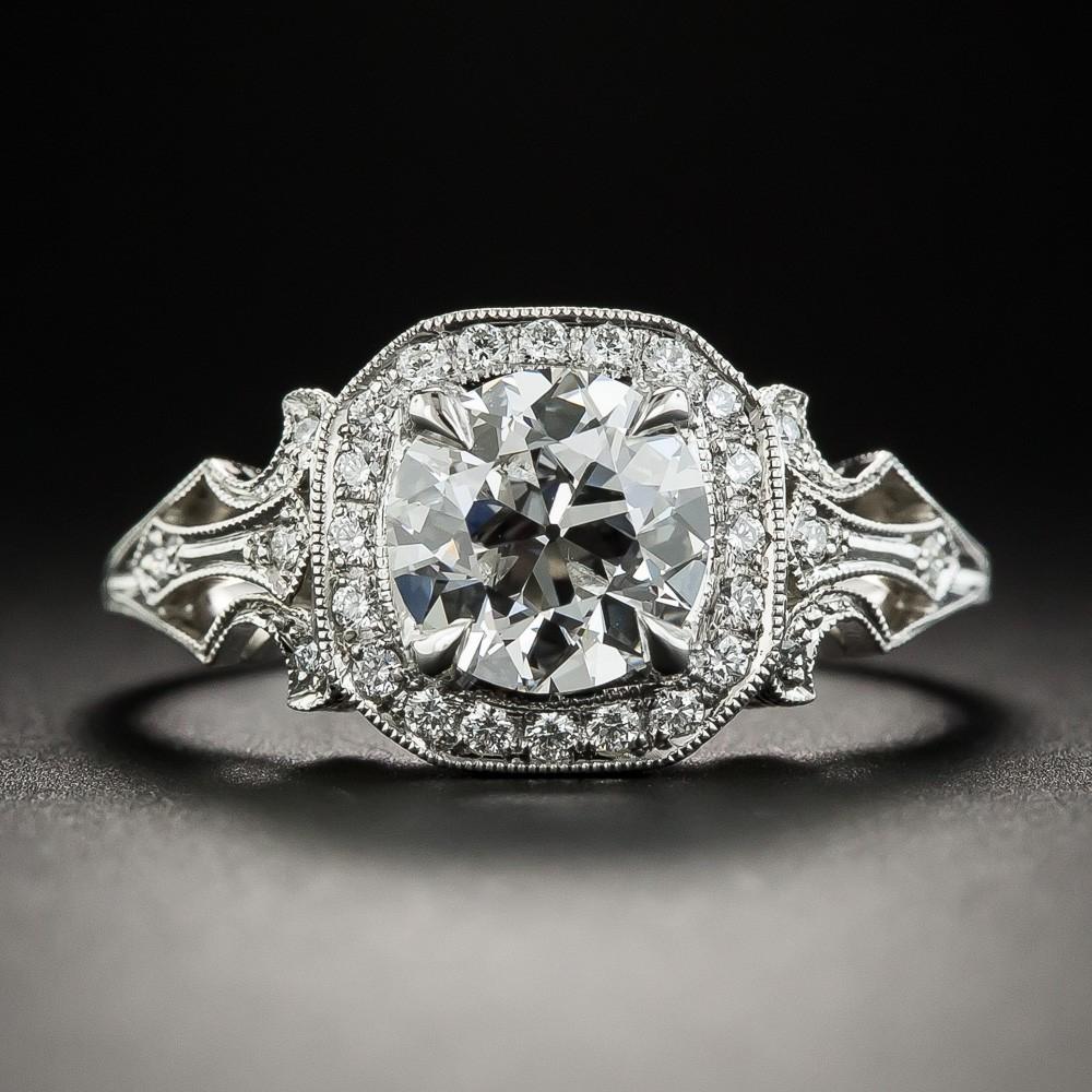 1.27 Carat European-Cut Diamond and Platinum Engagement Ring