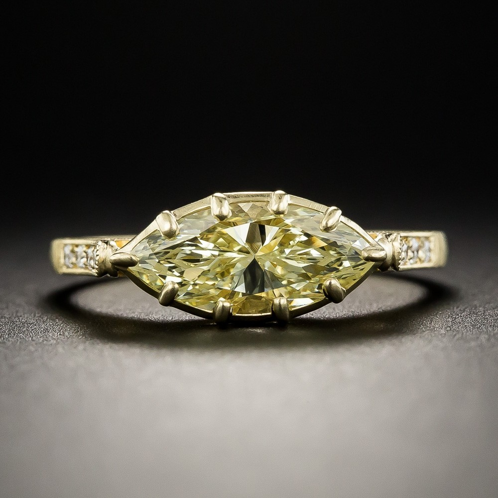 1.37 Carat Fancy Light Yellow Marquise Diamond Ring