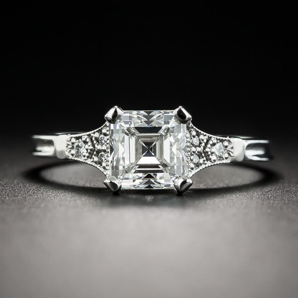 1.39 Carat Square Emerald-Cut Diamond Ring