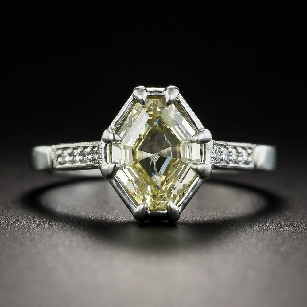 1.51 Carat Natural Fancy Yellow Octagonal Diamond Ring