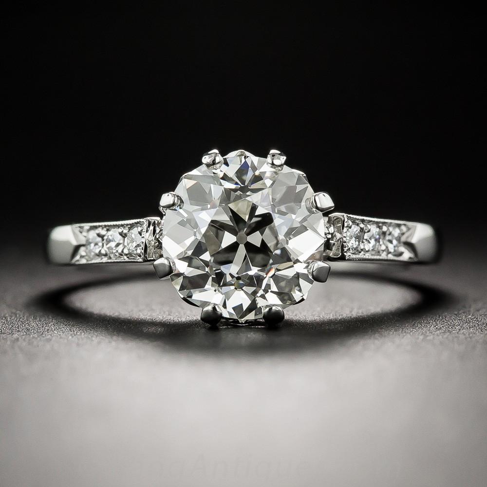 2.03 Carat European-Cut Diamond and Platinum Engagement Ring