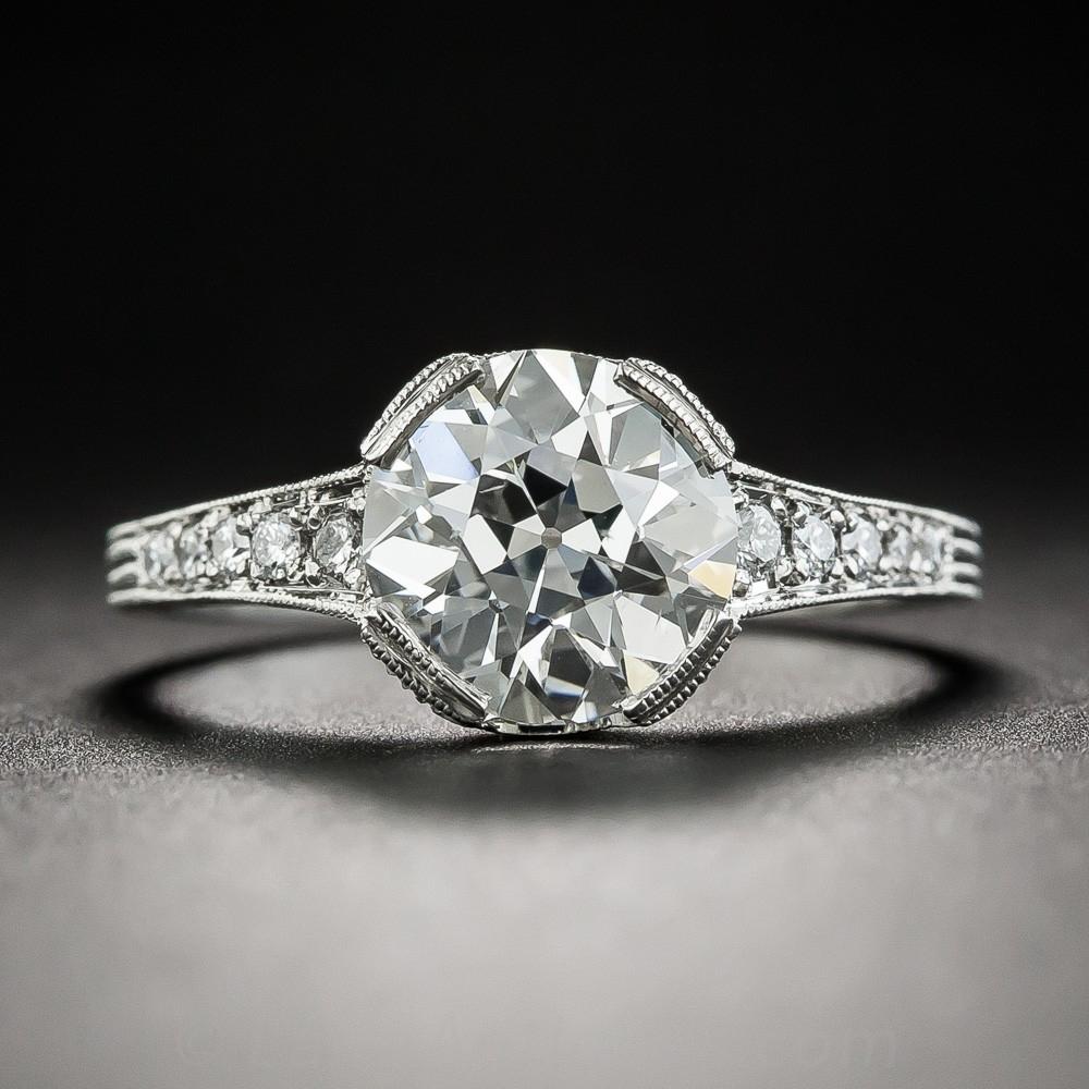 2.04 Carat European-Cut Diamond Vintage Style Engagement Ring
