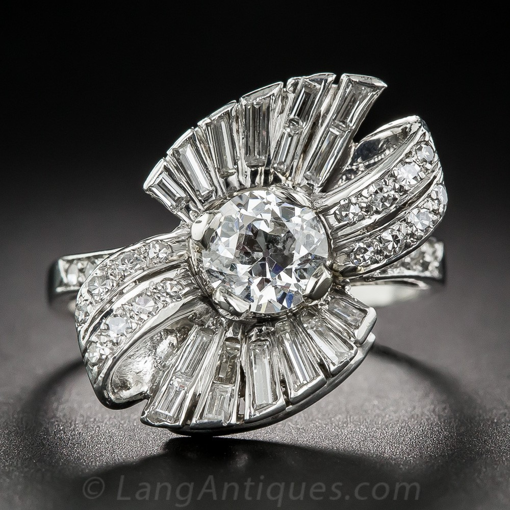 1950s Diamond Bow Motif Cocktail Ring