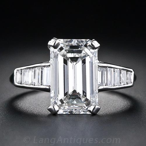3.18 Carat Emerald-Cut Diamond Ring