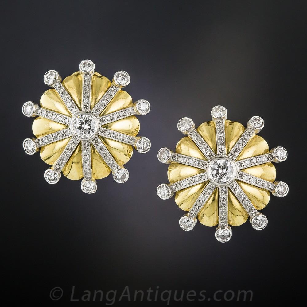 Mid-Century Diamond Sunburst Earrings