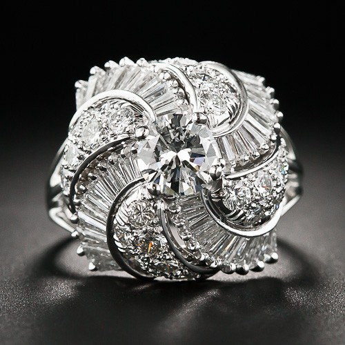 Fancy Platinum and Diamond Cocktail Ring