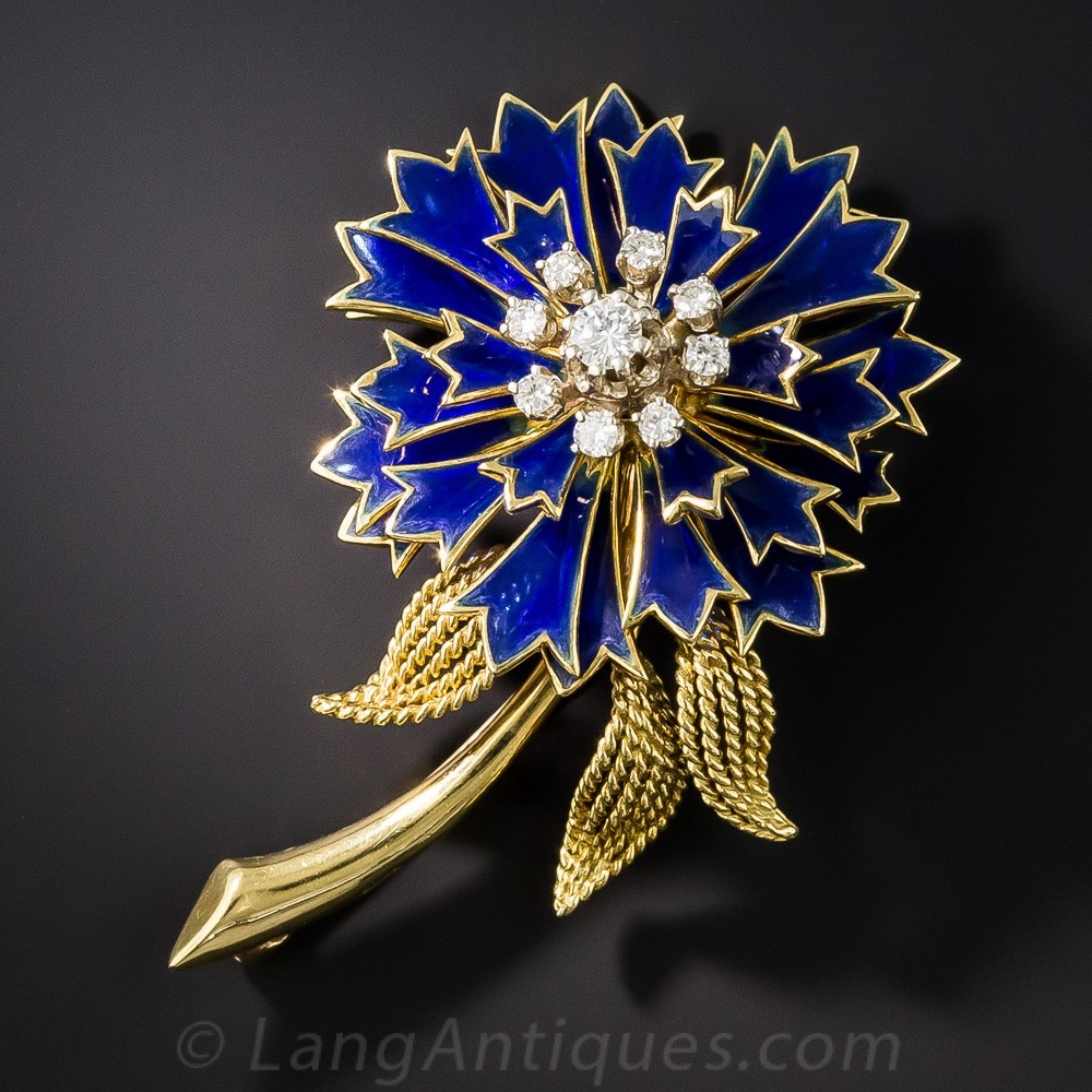 French Plique-a-Jour Flower Brooch