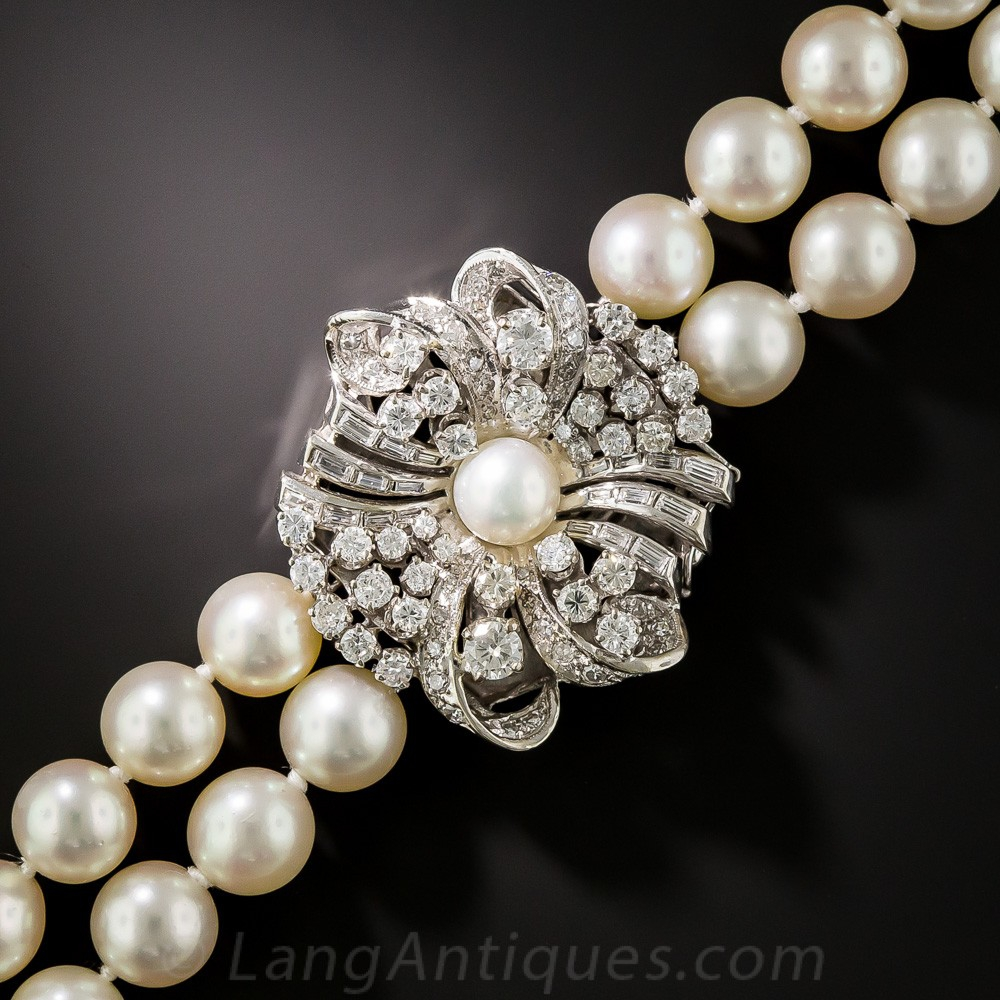 Mid-Century Double Strand Cultured Pearl Necklace with Diamond Clasp