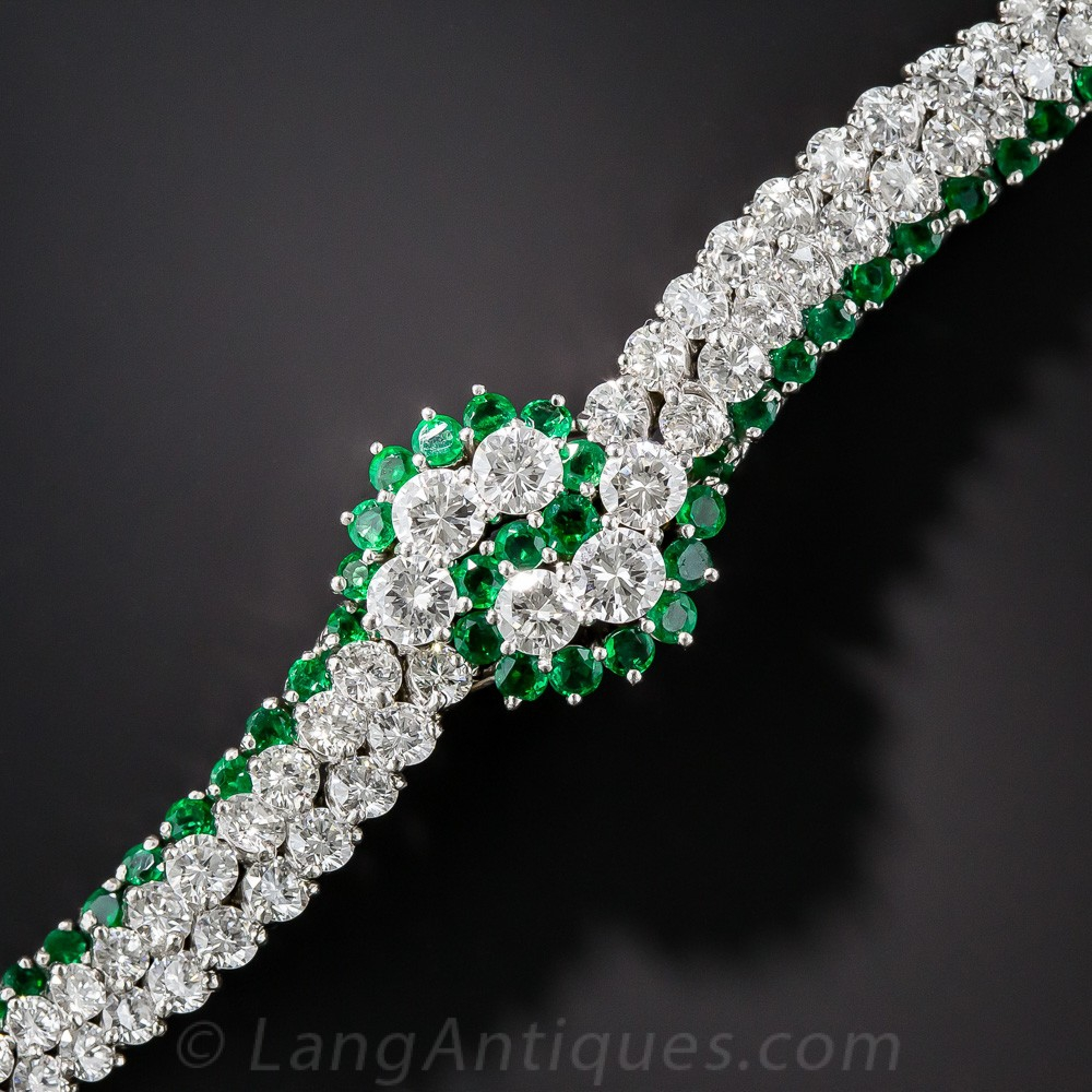 Mid-Century Emerald, Diamond, and Platinum Bracelet