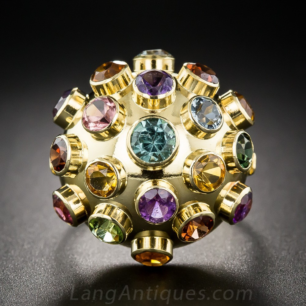 "Mid-Century Gemstone ""Sputnik"" Ring"