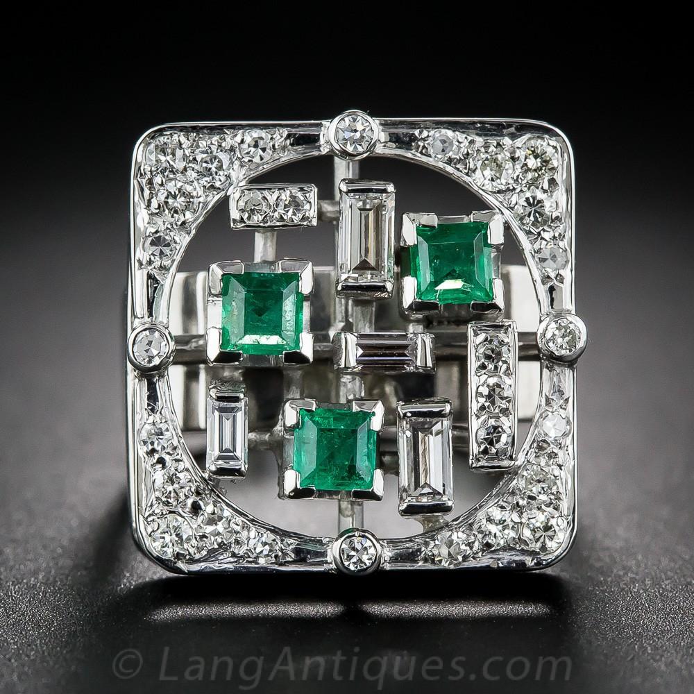 Mid-Century Modern Emerald and Diamond Ring