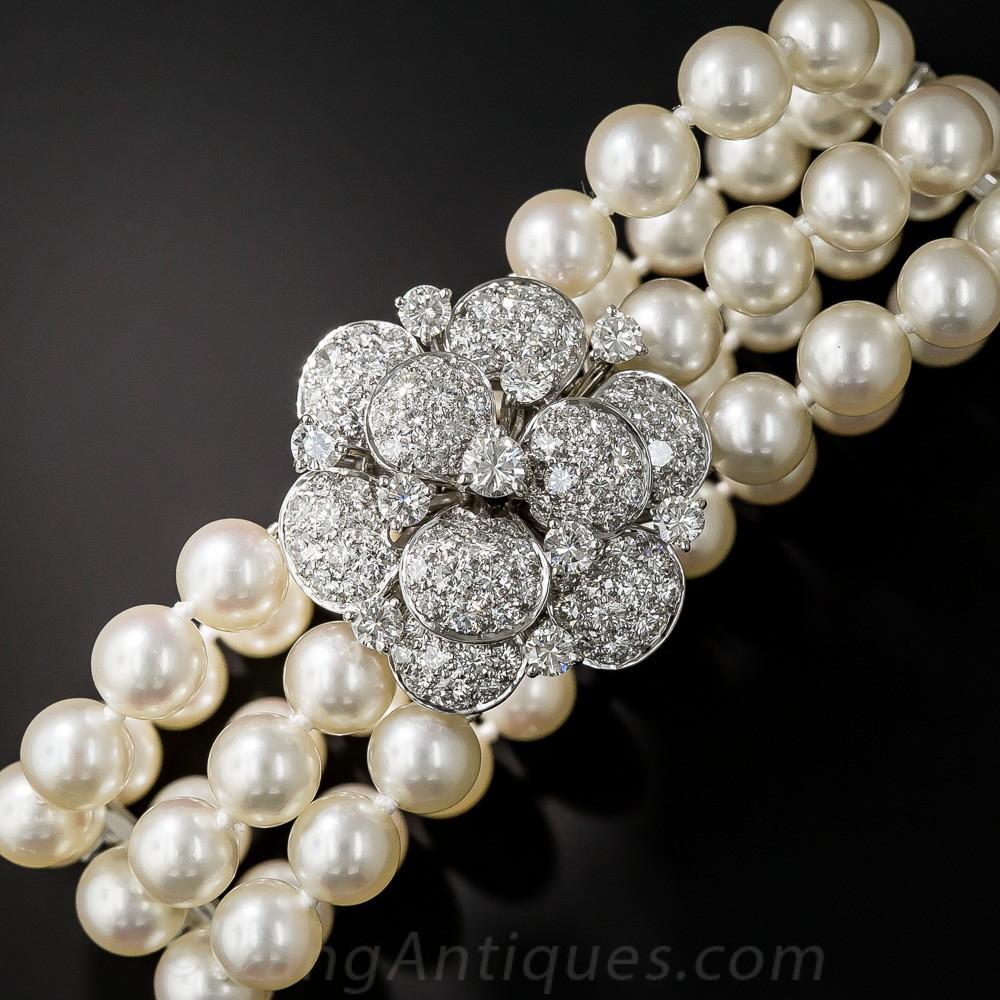 Mid-Century Pearl, Platinum, and Diamond Bracelet