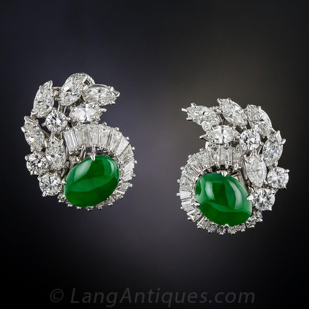 Natural Jadeite, Platinum, and Diamond Earrings