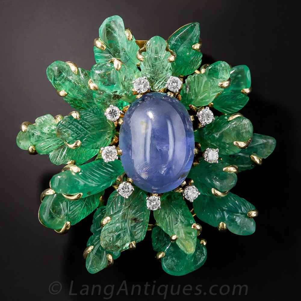 Star Sapphire and Carved Emerald Brooch