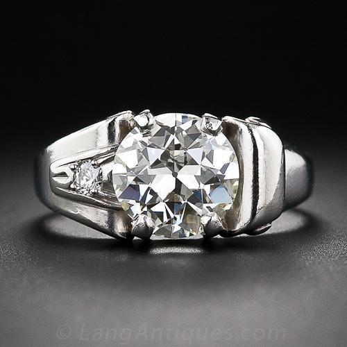 2.25 Carat Retro Diamond and Palladium Engagement Ring
