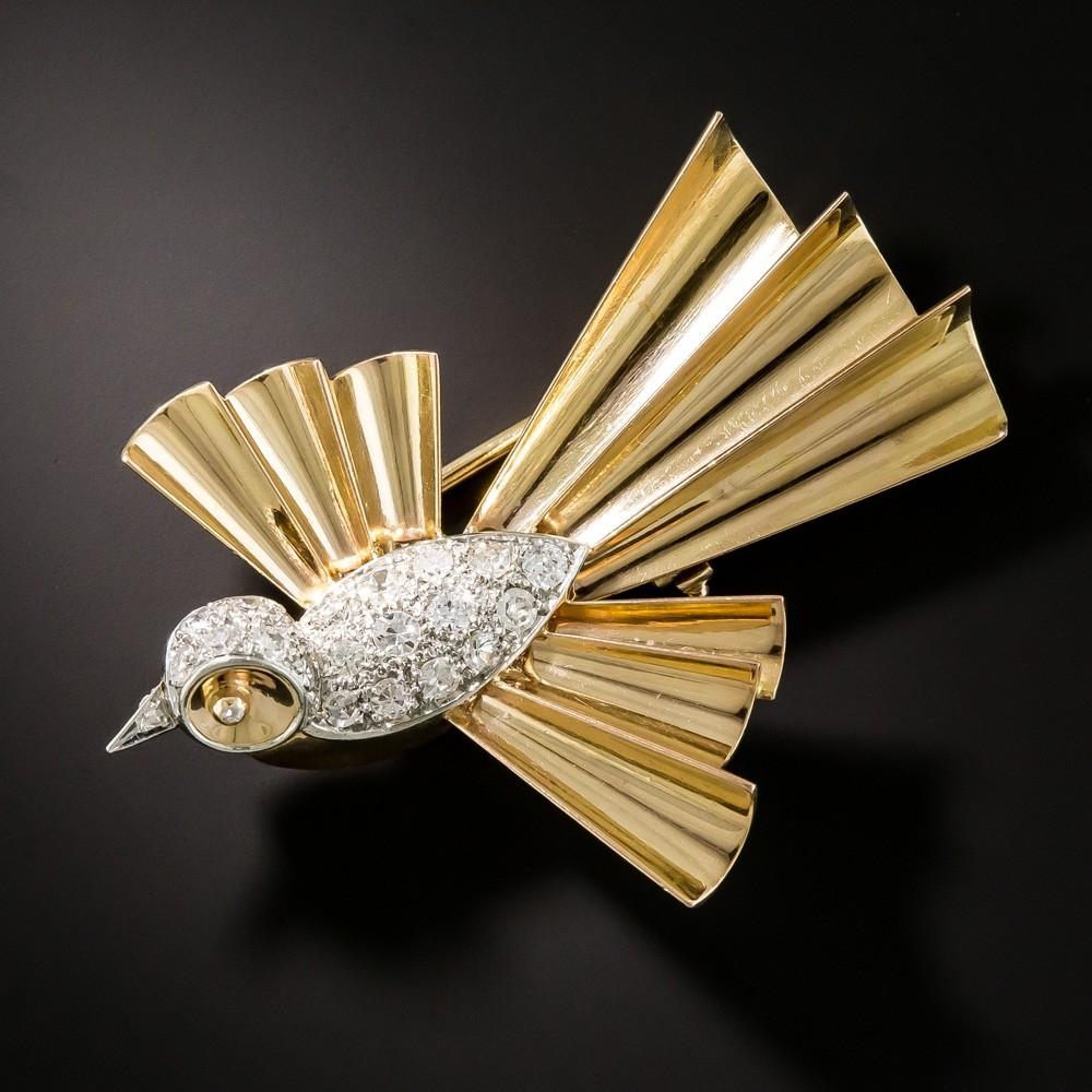 Retro Diamond Bird Brooch