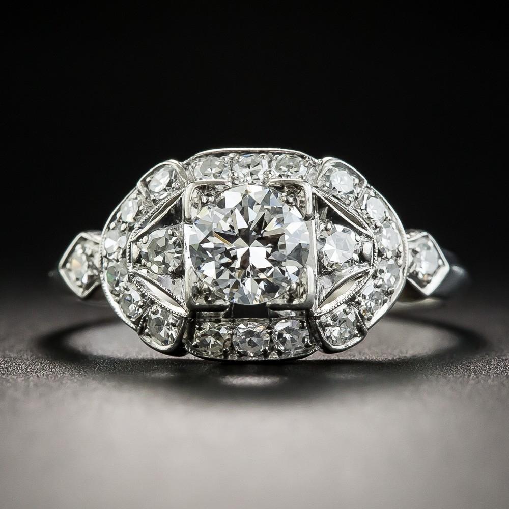 Vintage .58 Carat Diamond and Palladium Engagement Ring by Loretz & Benoit
