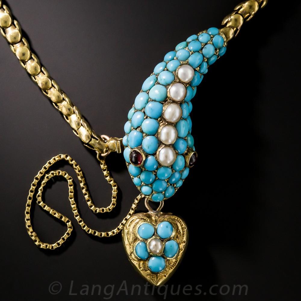 15ct Victorian Turquoise Snake Bracelet