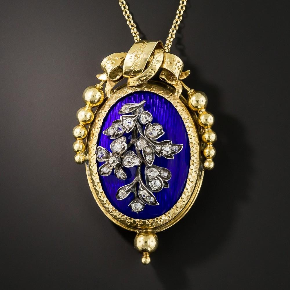 French Antique Blue Enamel Diamond Pendant/Brooch
