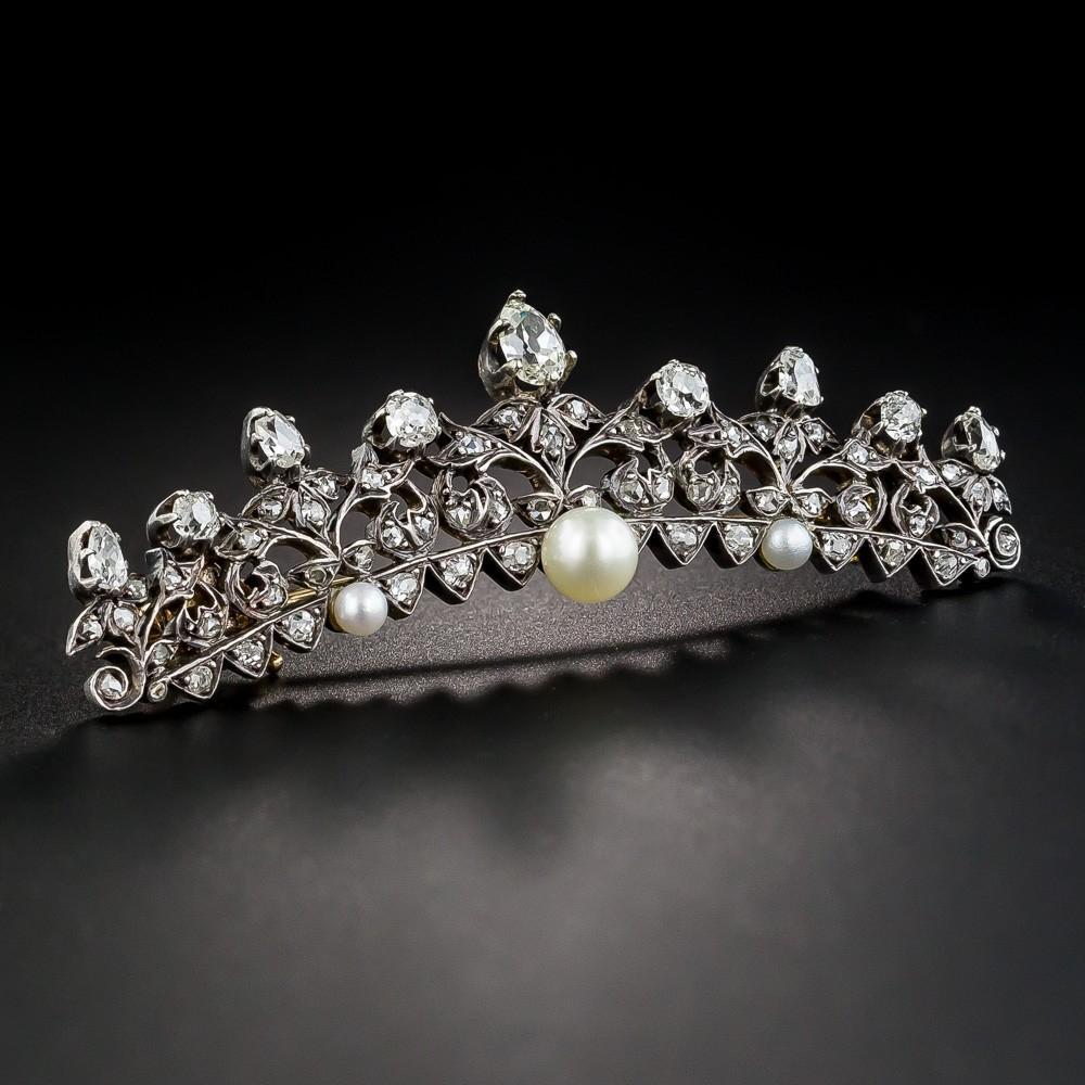Victorian Diamond and Pearl Tiara Pin