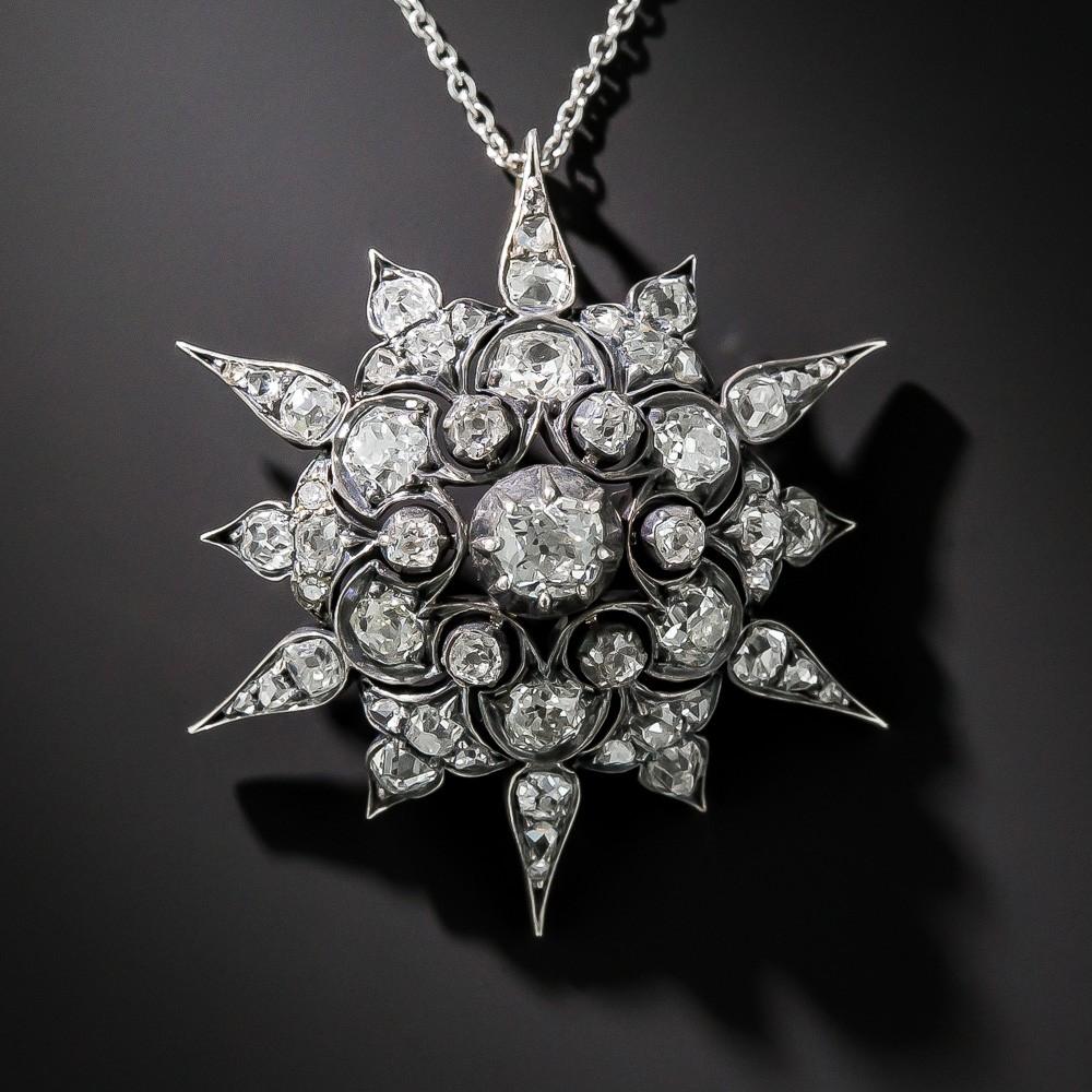 Victorian Diamond Starburst Pendant