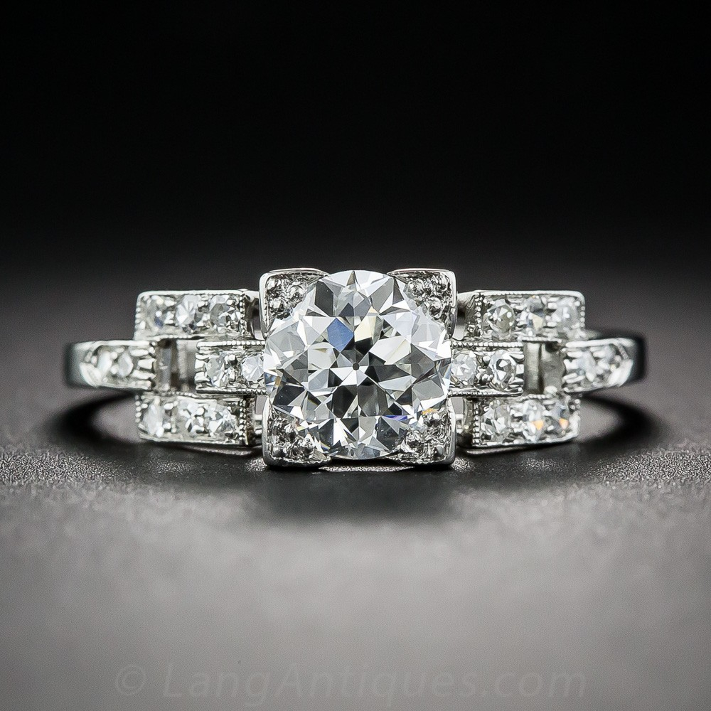 1.01 Carat Diamond Art Deco Engagement Ring