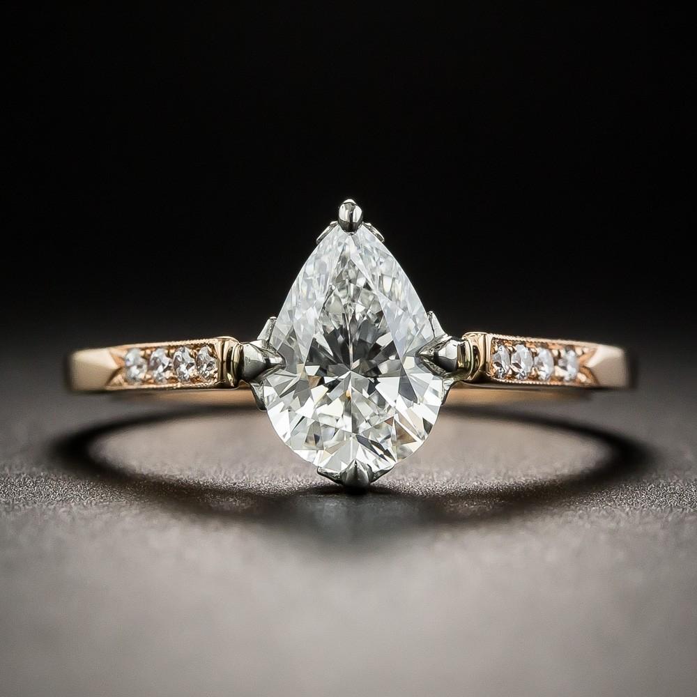 1.02 Carat Pear Shape Diamond Ring by Lang