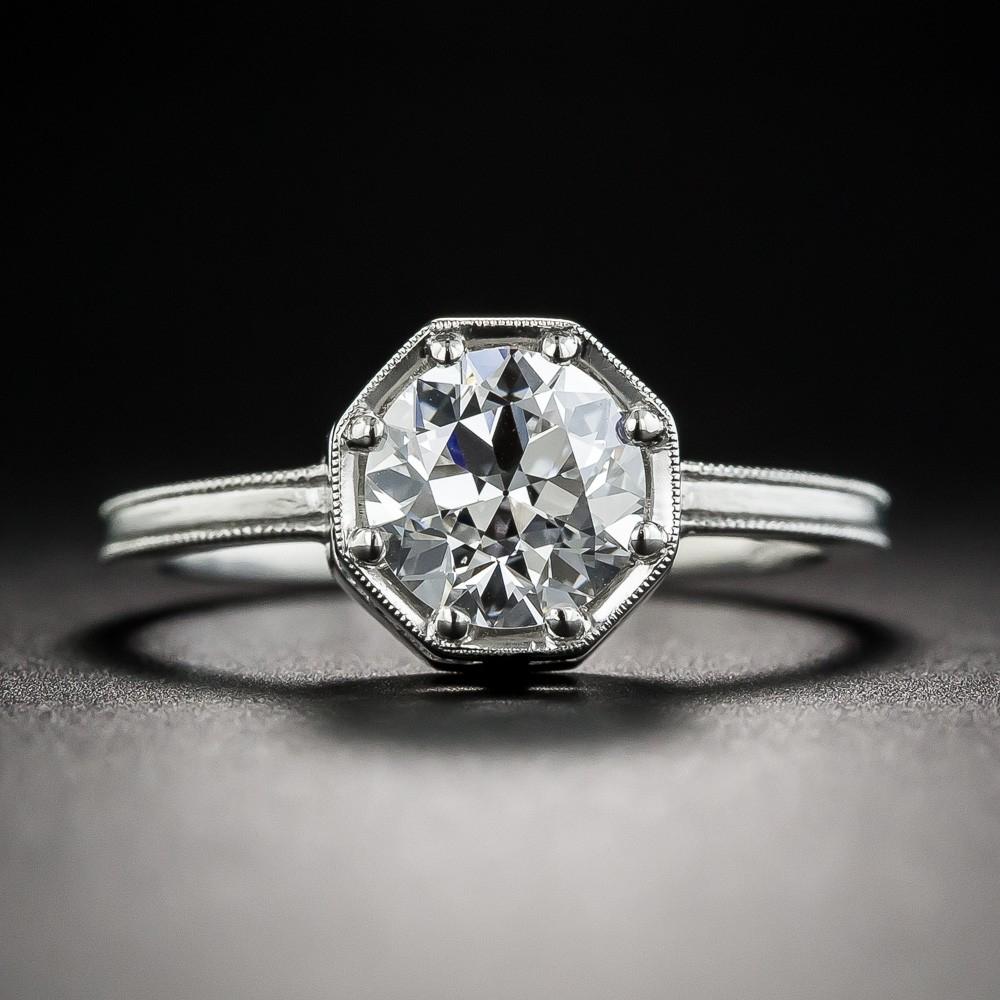 1.23 Carat European-Cut Diamond Ring by Lang