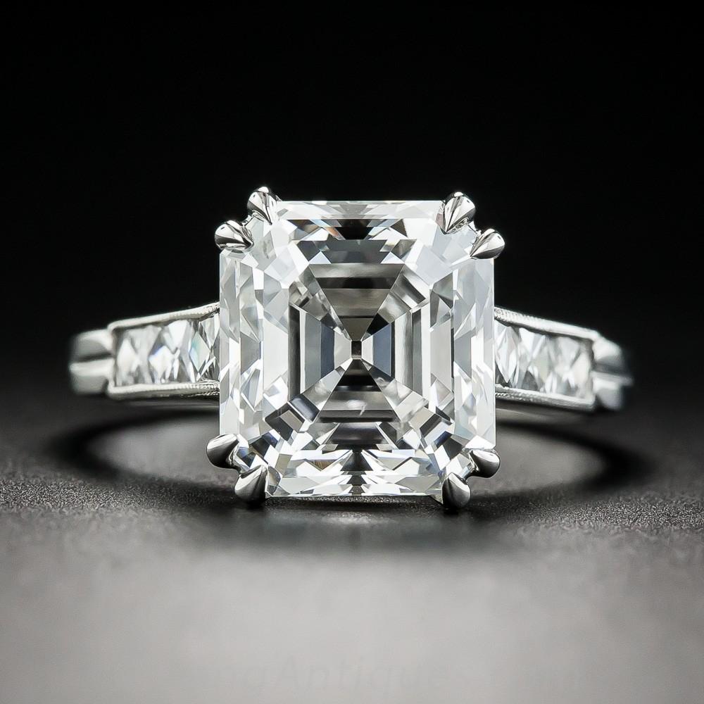 4.71 Carat Asscher-Cut Diamond Ring