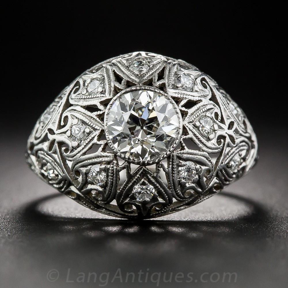 Edwardian .80 Carat Diamond and Platinum Engagement Ring