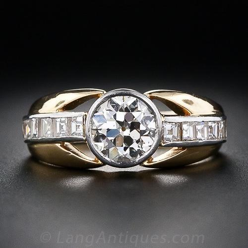 French 1.10 Carat Vintage Diamond Ring