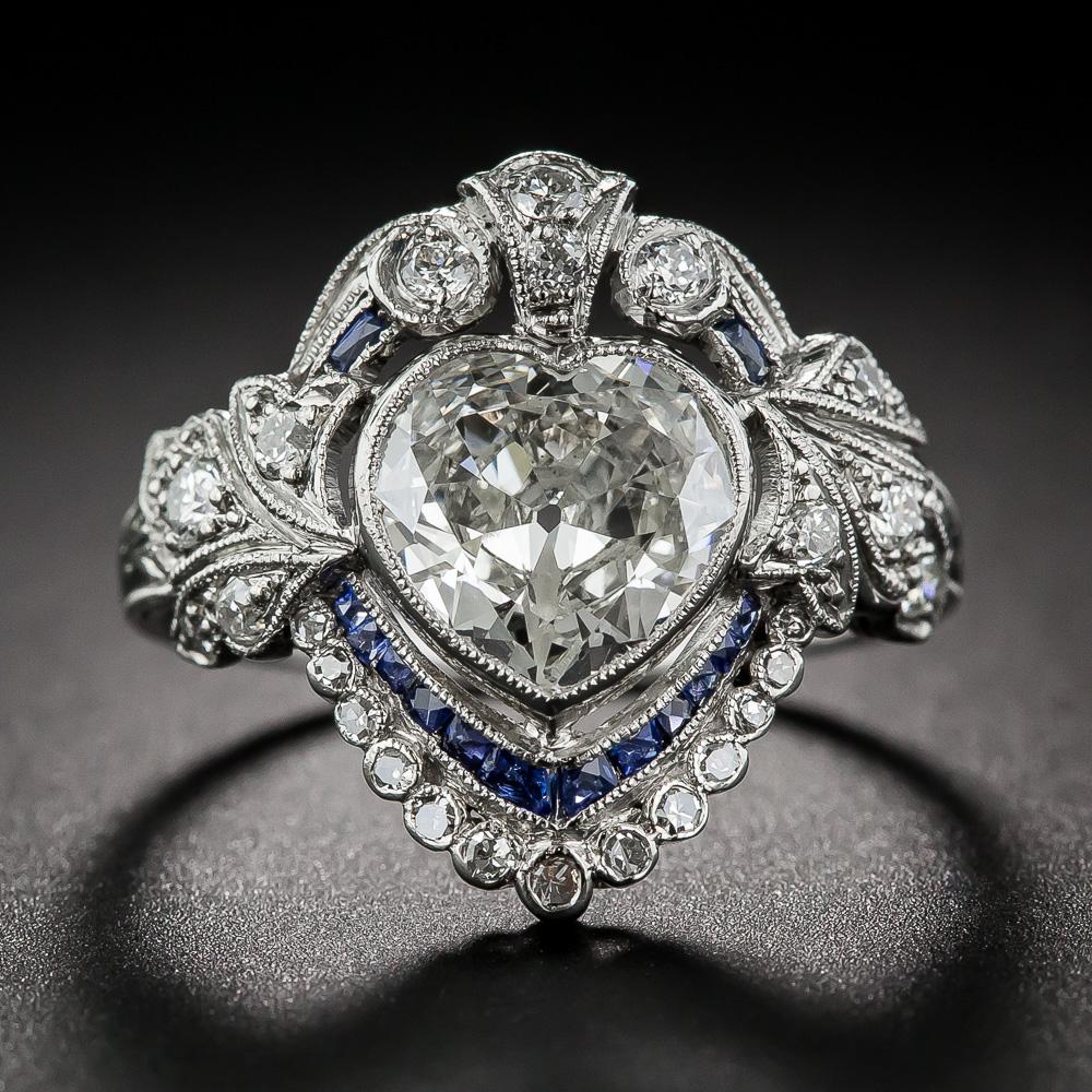 Edwardian heart shaped engagement ring