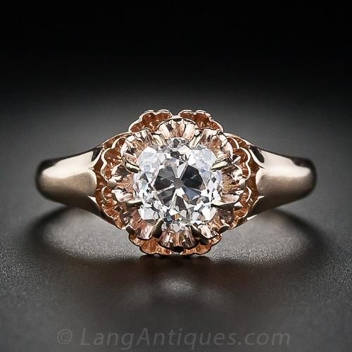 Victorian old mine cut solitaire engagement ring