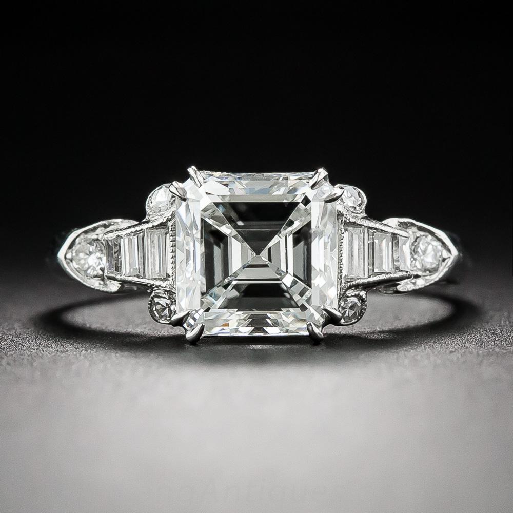 Art Deco square cut engagement ring